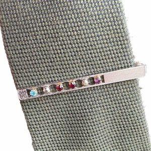 Vg ANSON Sterling Crystal Rhinestones Tie Bar Clip